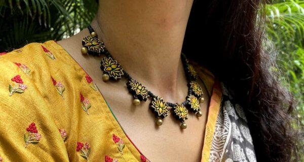 Black and beige with mustard border kota saree1