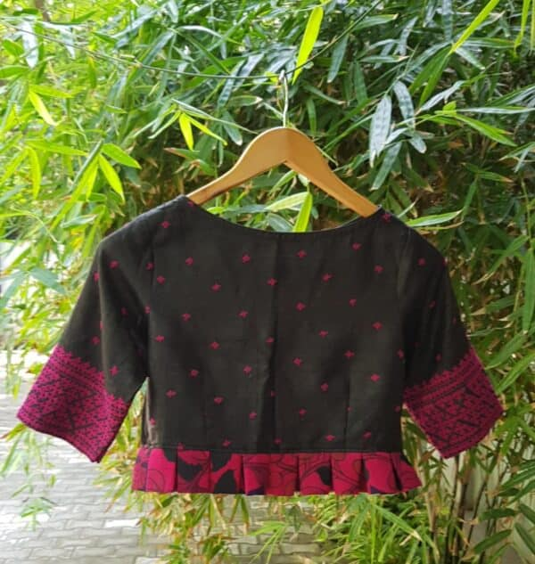 Black and pink kutch work tussar blouse
