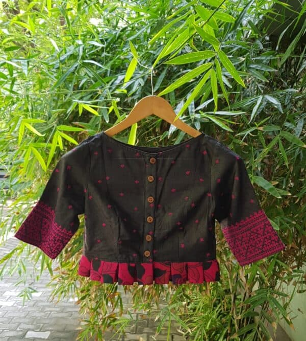 Black and pink kutch work tussar blouse1