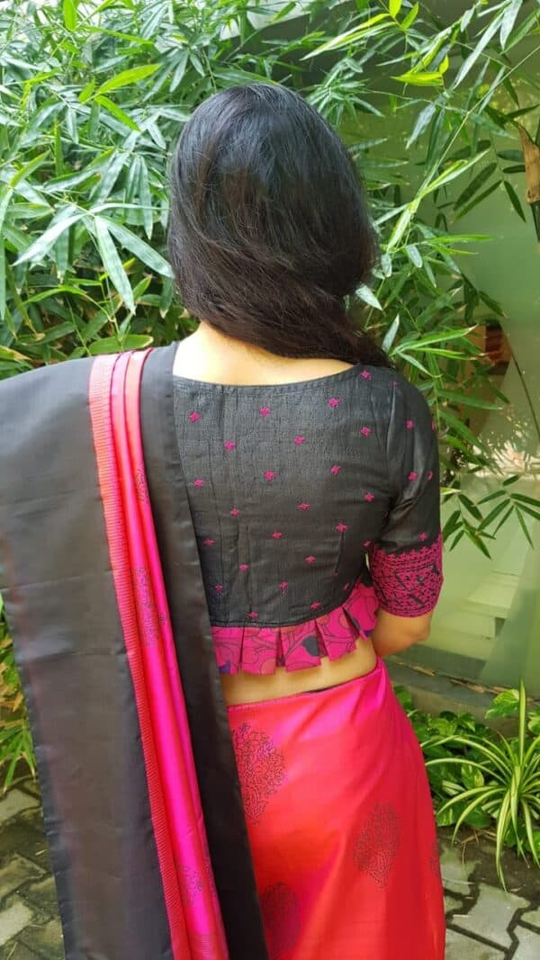 Black and pink kutch work tussar blouse2