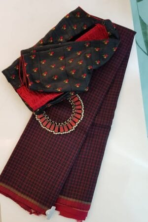 Black kanchipuram silk saree with red checks