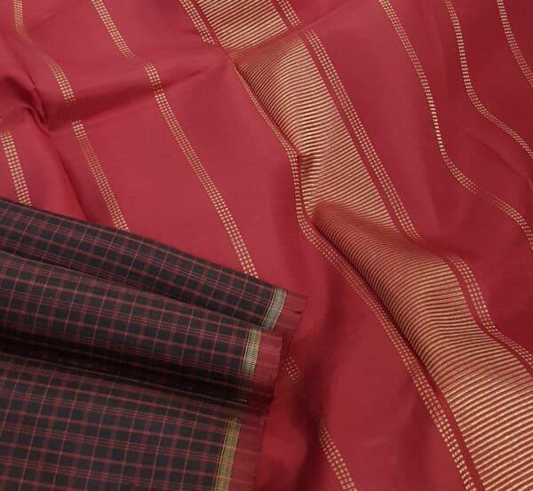 Black kanchipuram silk saree with red checks