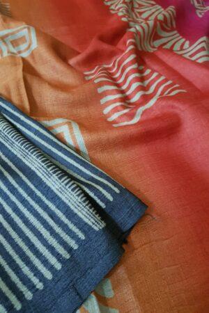 Black tussar saree with discharge prints A1