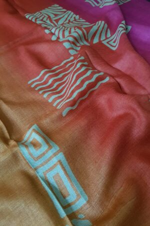 Black tussar saree with discharge prints A2