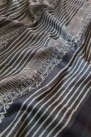 Black tussar saree with discharge prints A4