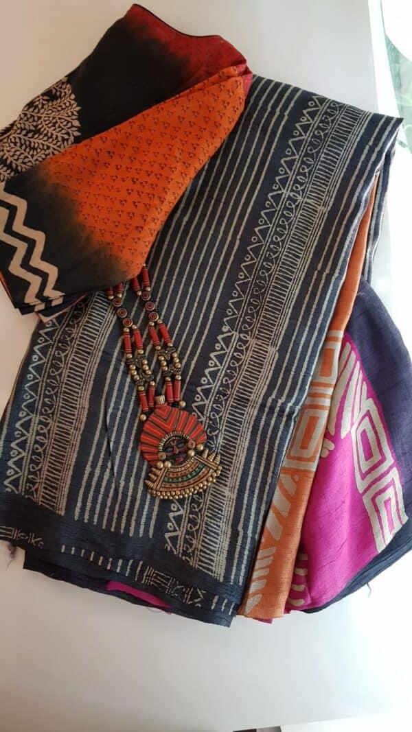 Black tussar saree with discharge prints C