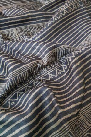 Black tussar saree with discharge prints E2