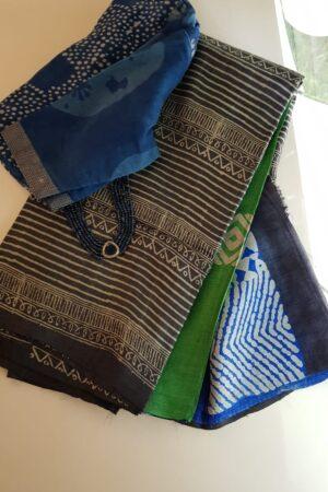 Black tussar saree with discharge prints F