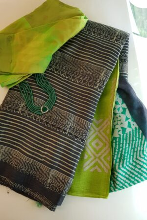 Black tussar saree with discharge prints b