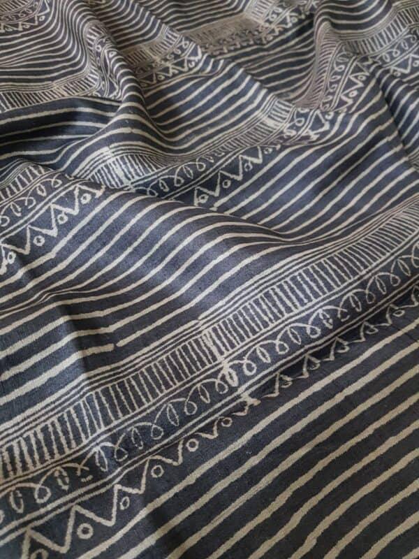 Black tussar saree with discharge prints b1
