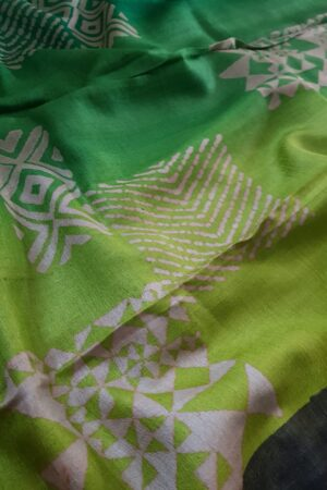 Black tussar saree with discharge prints b2