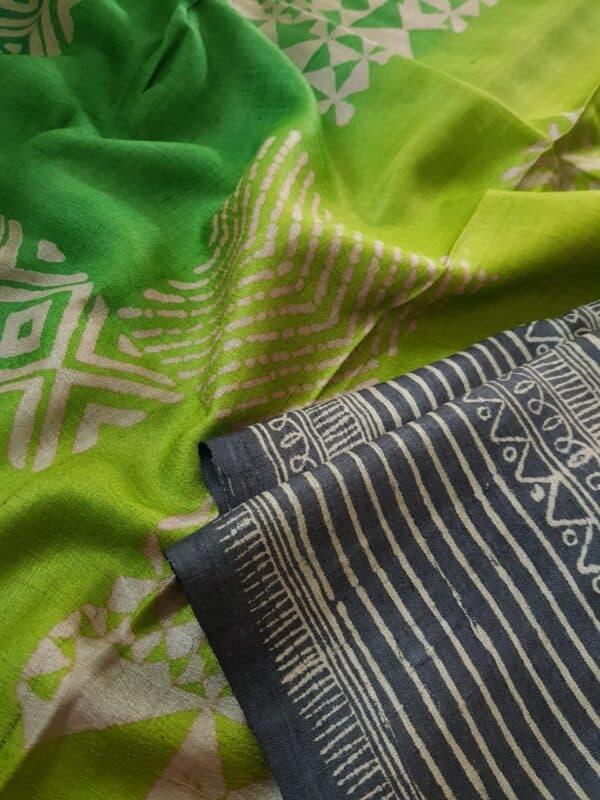 Black tussar saree with discharge prints b3