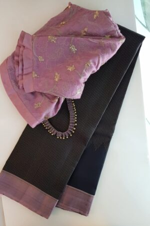 Black with mauve border kanchipuram silk saree