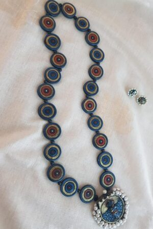 Blue and gold terracotta chain with pendant2