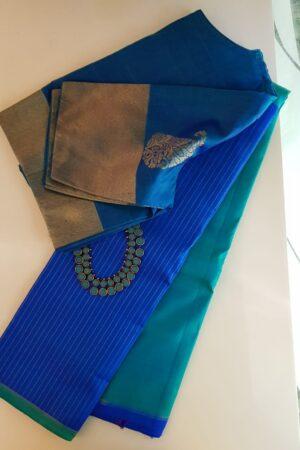 Blue and green half and half kanchipuram silk saree