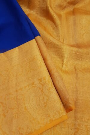 Blue chiffon saree with orange silk border2
