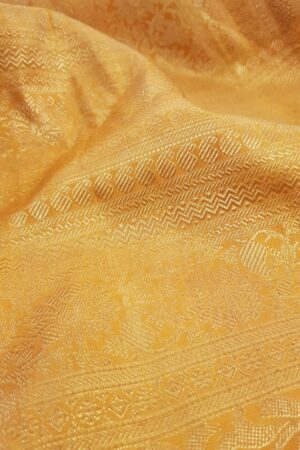 Blue chiffon saree with orange silk border3