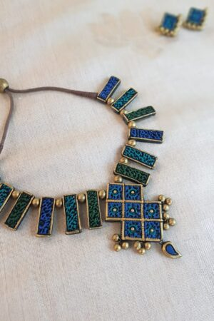Blue green terracotta necklace