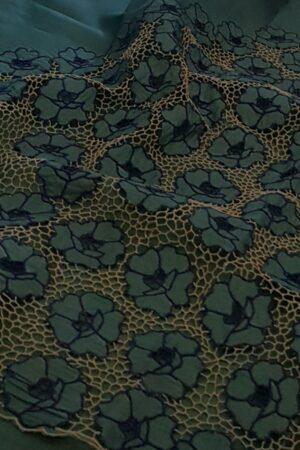 Blue organza cutwork saree1