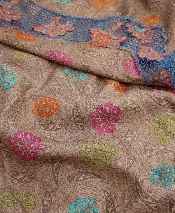 Blue organza saree with tussar pallu and cutwork border1
