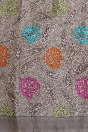 Blue organza saree with tussar pallu and cutwork border3
