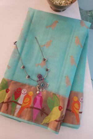 Blue zari kota saree with birds