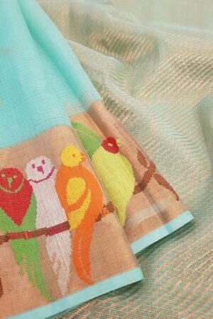 Blue zari kota saree with birds2