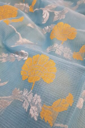 Blue zari kota saree with mustard flowers3