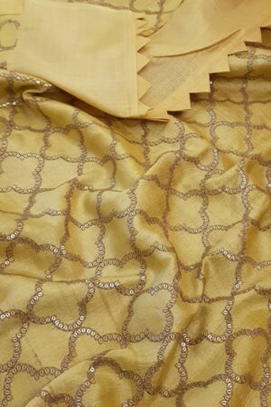 Butter yellow tussar saree with embroidered pallu1