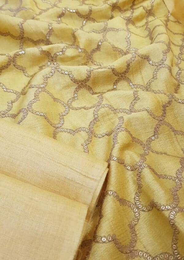 Butter yellow tussar saree with embroidered pallu2