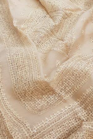Cream organza saree with kutch work1