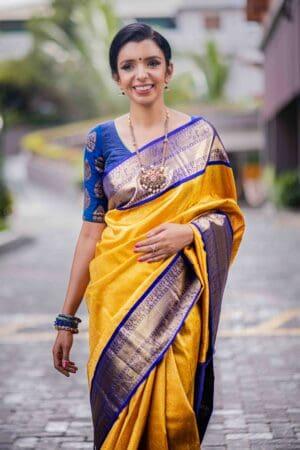 mustard and blue kanchipuram silk saree1