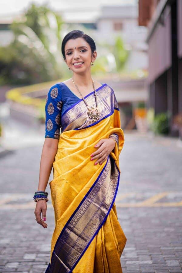 mustard and blue kanchipuram silk saree2