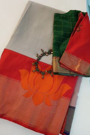 Dark beige chiffon saree with benaras silk border