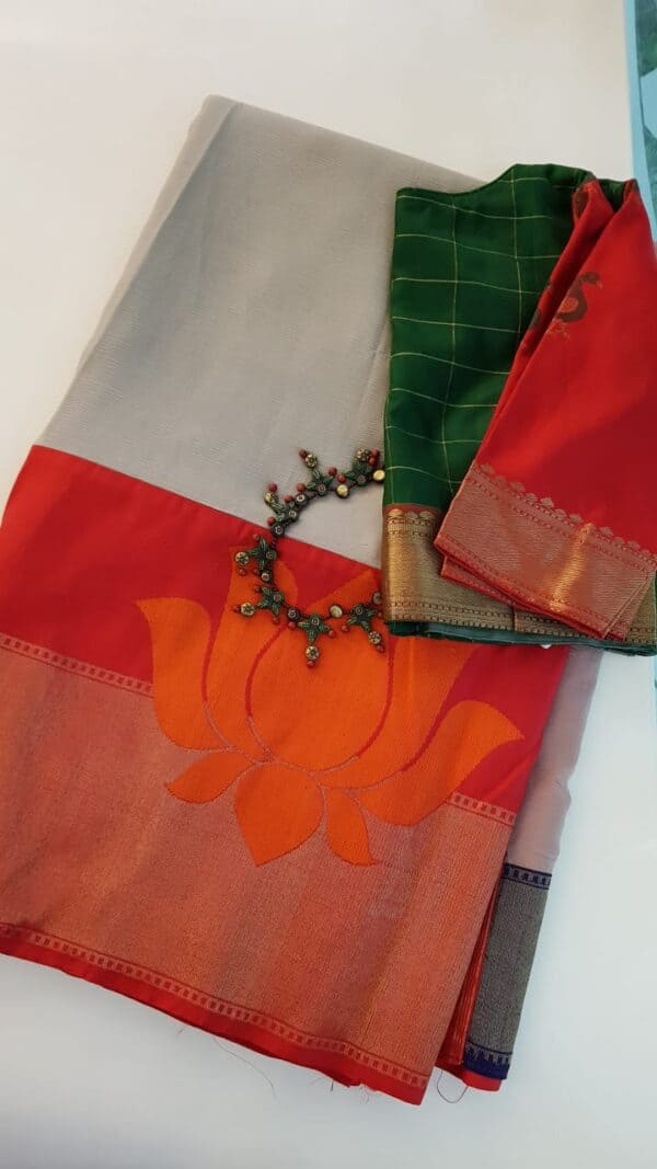 Dark beige chiffon saree with benaras silk border
