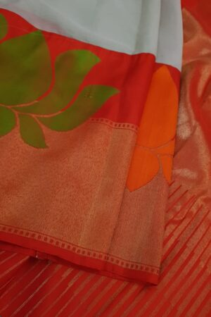 Dark beige chiffon saree with benaras silk border3