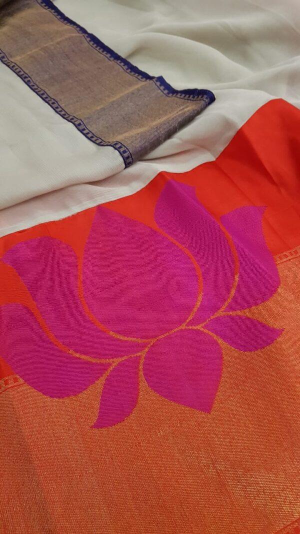 Dark beige chiffon saree with benaras silk border4