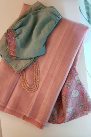 Dusty pink tussar saree with embroidered pallu