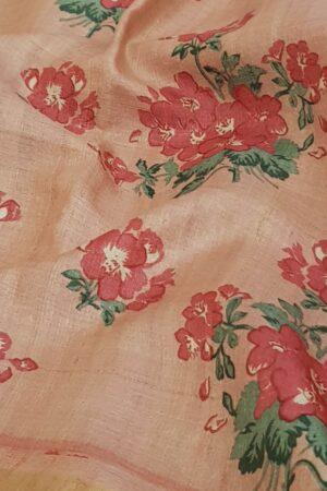 Dusty pink zari border block printed tussar saree1