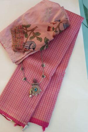 Dusty rose kanchipuram silk saree with pink checks