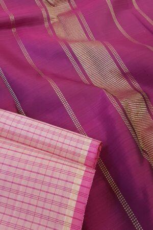 Dusty rose kanchipuram silk saree with pink checks1