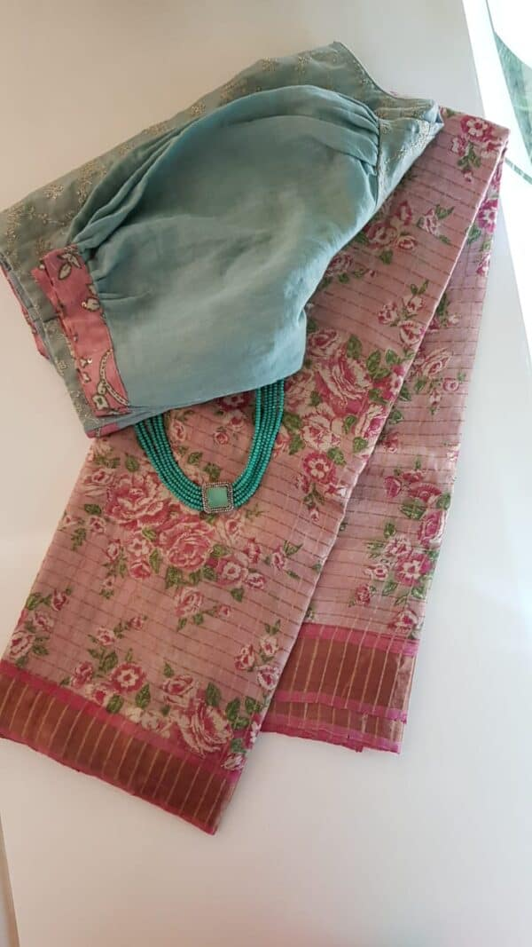 Dusty rose with pink zari border tussar saree