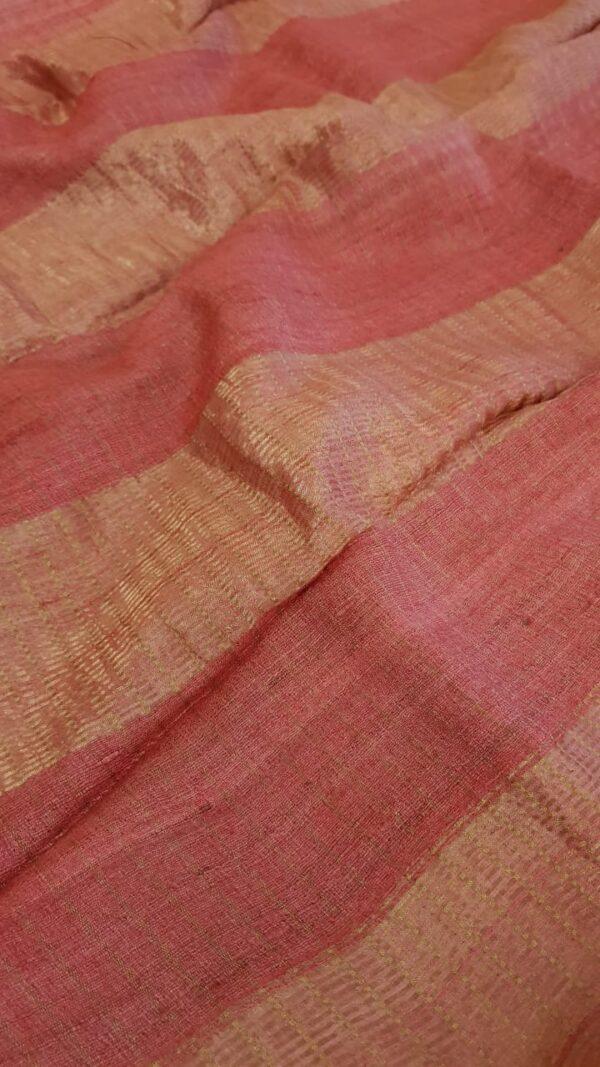 Dusty rose with pink zari border tussar saree1