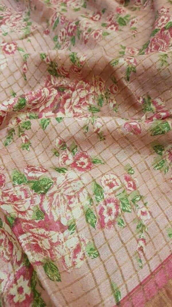 Dusty rose with pink zari border tussar saree2
