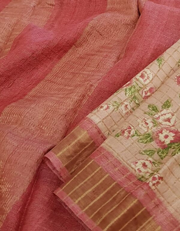 Dusty rose with pink zari border tussar saree3