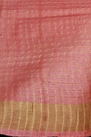 Dusty rose with pink zari border tussar saree4