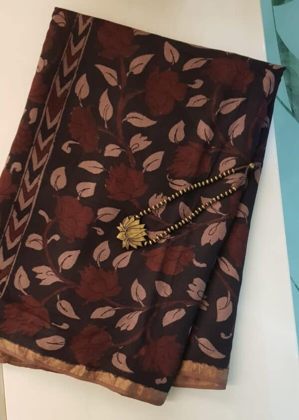Floral kalamkari on tussar sari with zari border