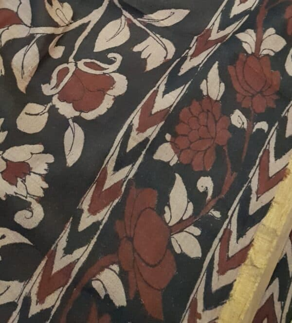 Floral kalamkari on tussar sari with zari border3