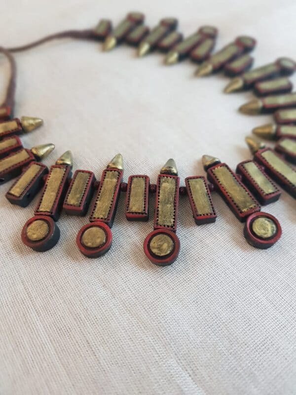 Gold and rust terracotta necklace