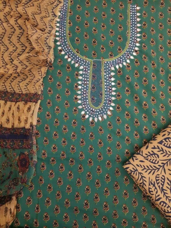 Green and beige with neck embroidery